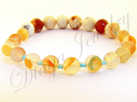 Orange Fire Agate Bracelet