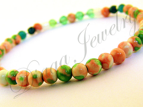 Green Agate and Natural Stone Bracelet