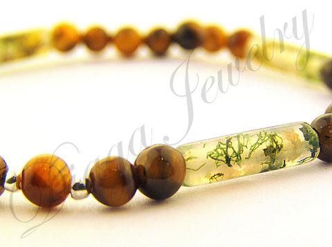 Tiger Eye and Grass Agate Bracelet