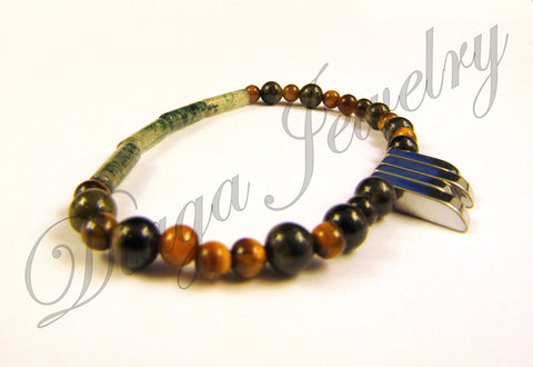 Tiger Eye and Hematite Charm Bracelet