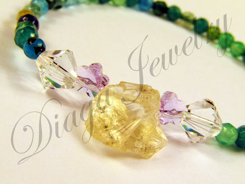 Green Agate and Swarovski Bracelet
