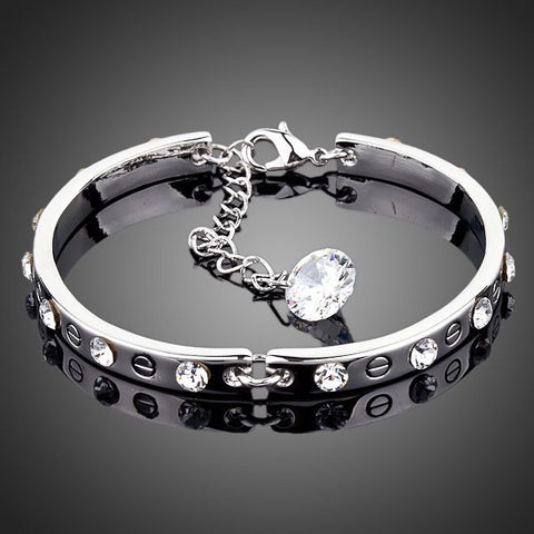 Platinum Plated Crystal Bangle