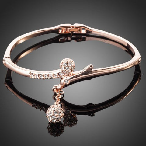 Rose Gold Plated Dolphin Charm Bangle - Diaga Jewelry - 1