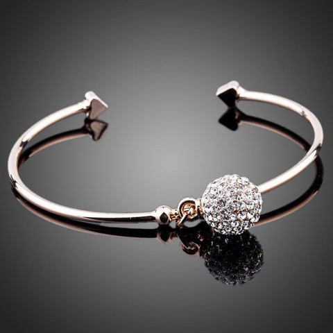 Rose Gold Plated Crystal Charm Bangle - Diaga Jewelry - 1
