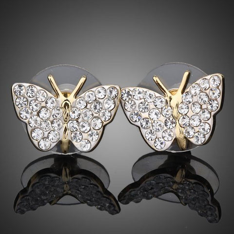 Gold Plated Crystal Butterfly Stud Earrings - Diaga Jewelry - 1