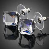 Platinum Plated Blue Crystal Cube Stud Earrings - Diaga Jewelry - 1