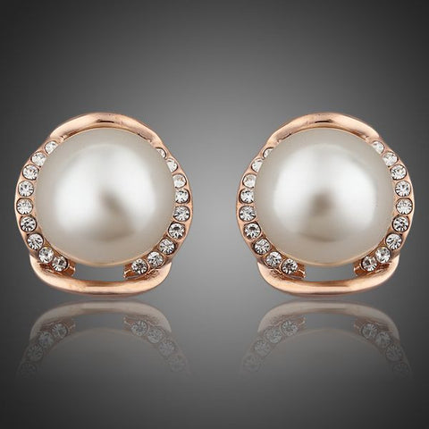 Rose Gold Plated Pearl Stud Earrings - Diaga Jewelry - 1