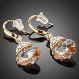 Gold Plated Round Crystal Drop Earrings