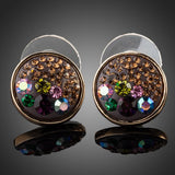 Gold Plated Multicolour Crystals Stud Earrings - Diaga Jewelry - 1