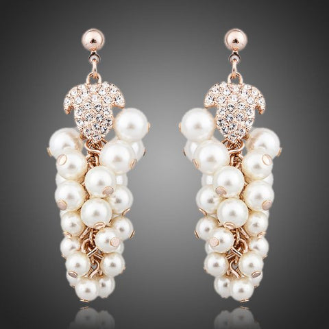 Gold Plated Pearls Grapes Earrings - Diaga Jewelry - 1