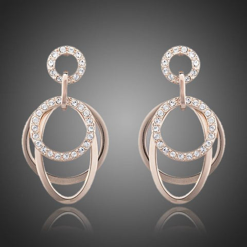 Rose Gold Plated Rhinestone Earrings - Diaga Jewelry