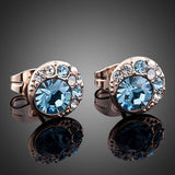 Rose Gold Plated Round Crystals Stud Earrings - Diaga Jewelry - 2