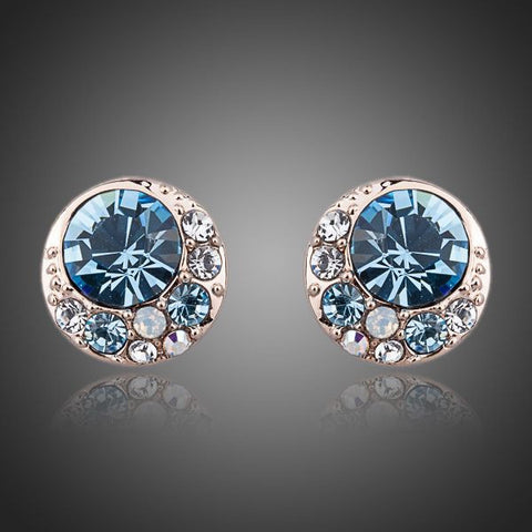 Rose Gold Plated Round Crystals Stud Earrings - Diaga Jewelry - 1