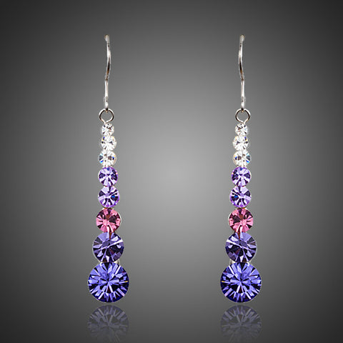 Rhodium Plated Crystals Drop Earrings - Diaga Jewelry - 1