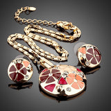 Gold Plated Multicolour Flower Design Jewelry Set - Diaga Jewelry - 2