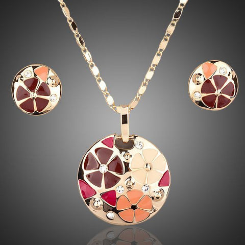 Gold Plated Multicolour Flower Design Jewelry Set - Diaga Jewelry - 1