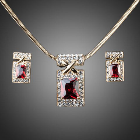 Gold Plated Dark-Red Cubic Zirconia Jewelry Set - Diaga Jewelry - 1