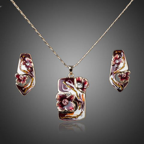 Gold Plated Flower Oil Painting Pattern Jewelry Set - Diaga Jewelry - 1