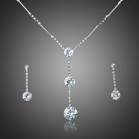 Platinum Plated Crystal Water Drop Jewelry Set - Diaga Jewelry - 1