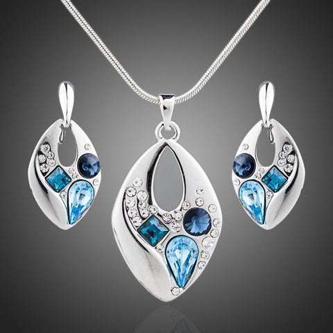 Platinum Plated Blue Crystals Jewelry Set - Diaga Jewelry - 1