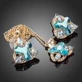 Gold Plated Blue Crystal Flower Jewelry Set - Diaga Jewelry - 2
