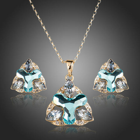 Gold Plated Blue Crystal Flower Jewelry Set - Diaga Jewelry - 1
