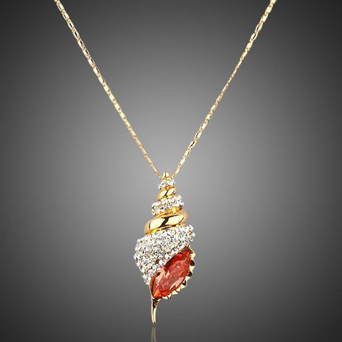 Gold Plated Shell Pendant Necklace - Diaga Jewelry