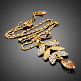 Gold Plated Crystal Leaves Pendant Necklace - Diaga Jewelry - 2