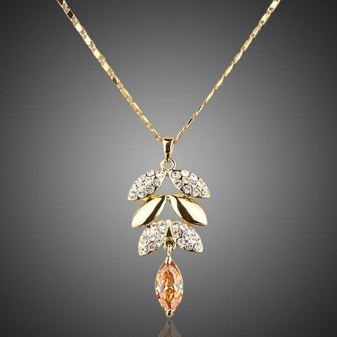 Gold Plated Crystal Leaves Pendant Necklace - Diaga Jewelry
