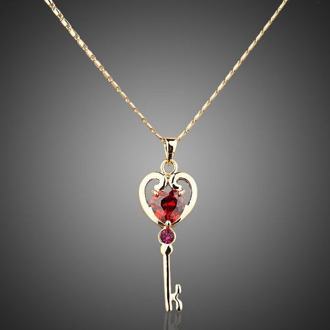 Gold Plated Red Crystal Unlocking Key Pendant Necklace - Diaga Jewelry - 1