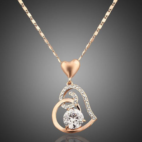 Rose Gold Plated Heart Pendant Necklace - Diaga Jewelry - 1