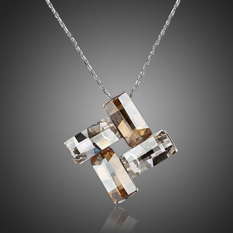 White Gold Plated Four Rectangles Pendant Necklace - Diaga Jewelry - 1