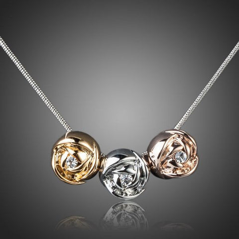 Platinum Plated Roses Pendant Necklace - Diaga Jewelry - 1