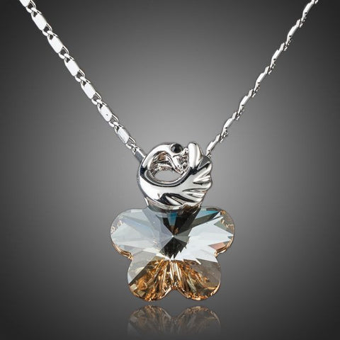 Platinum Plated Brown Crystal Pendant Necklace - Diaga Jewelry - 1