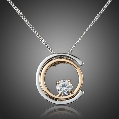 Platinum Plated Round Pendant Necklace - Diaga Jewelry - 1
