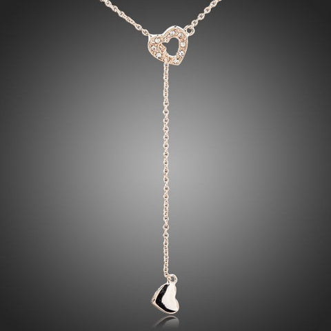 Rose Gold Plated Heart Linked to Heart Pendant Necklace - Diaga Jewelry - 1