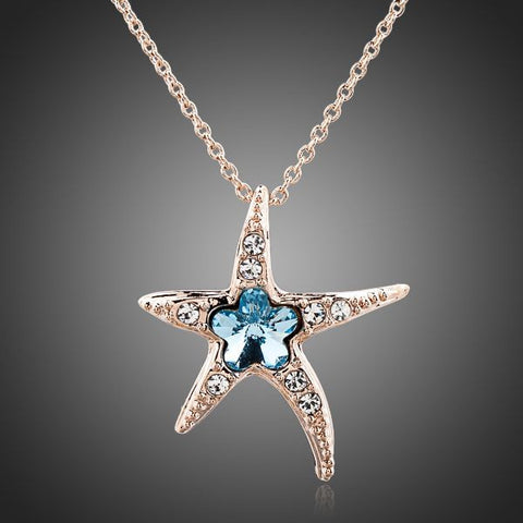 Rose Gold Plated Blue Crystal Starfish Pendant Necklace - Diaga Jewelry