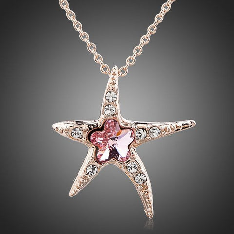Rose Gold Plated Pink Starfish Pendant Necklace - Diaga Jewelry - 1