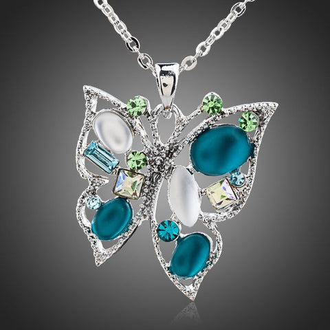 Platinum Plated Crystal Butterfly Pendant Necklace - Diaga Jewelry - 1