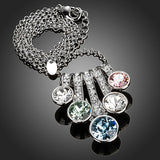 Rhodium Plated Five Flowers Crystal Pendant Necklace - Diaga Jewelry - 2