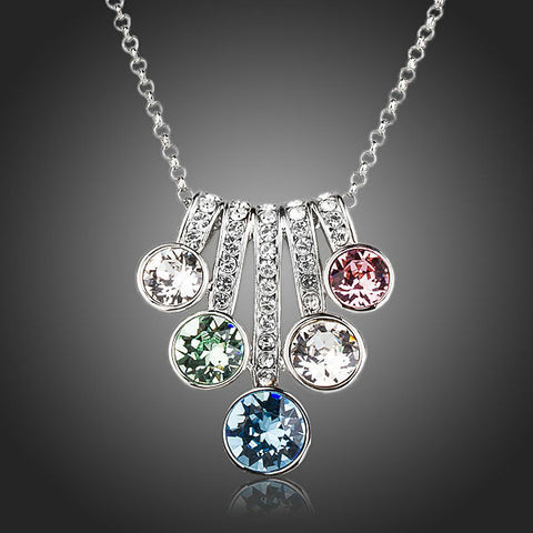 Rhodium Plated Five Flowers Crystal Pendant Necklace - Diaga Jewelry - 1
