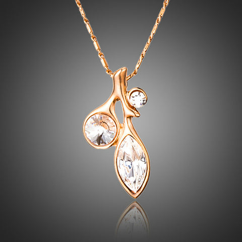 Rose Gold Plated Leaf Pendant Necklace - Diaga Jewelry