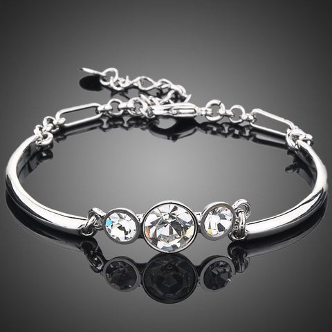 Platinum Plated Transparent Crystal Bracelet