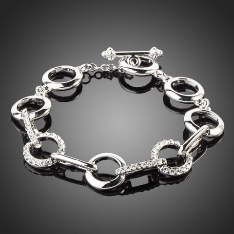 Platinum Plated Round End To End Bracelet - Diaga Jewelry - 1