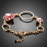 Gold Plated Flower and Round Charms Bracelet