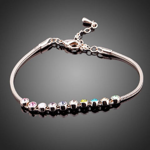 Rose Gold Plated Multicolour Crystal Balls Bracelet - Diaga Jewelry