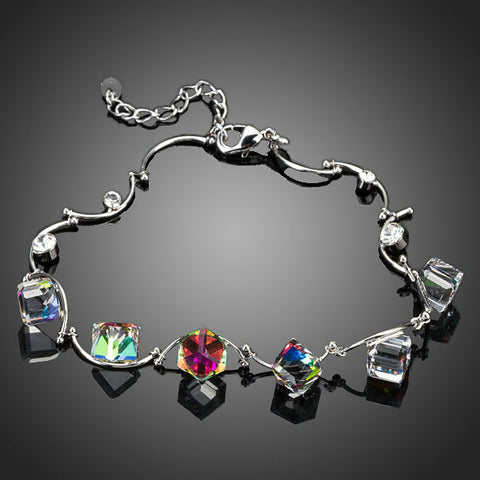 Gradual Change Colour Cube Crystals Charm Bracelet - Diaga Jewelry - 1