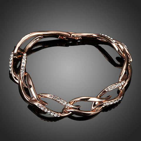 Rose Gold Plated Crystal Leaves Bracelet - Diaga Jewelry - 1