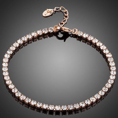 Rose Gold Plated Swiss Cubic Zirconia Bracelet - Diaga Jewelry