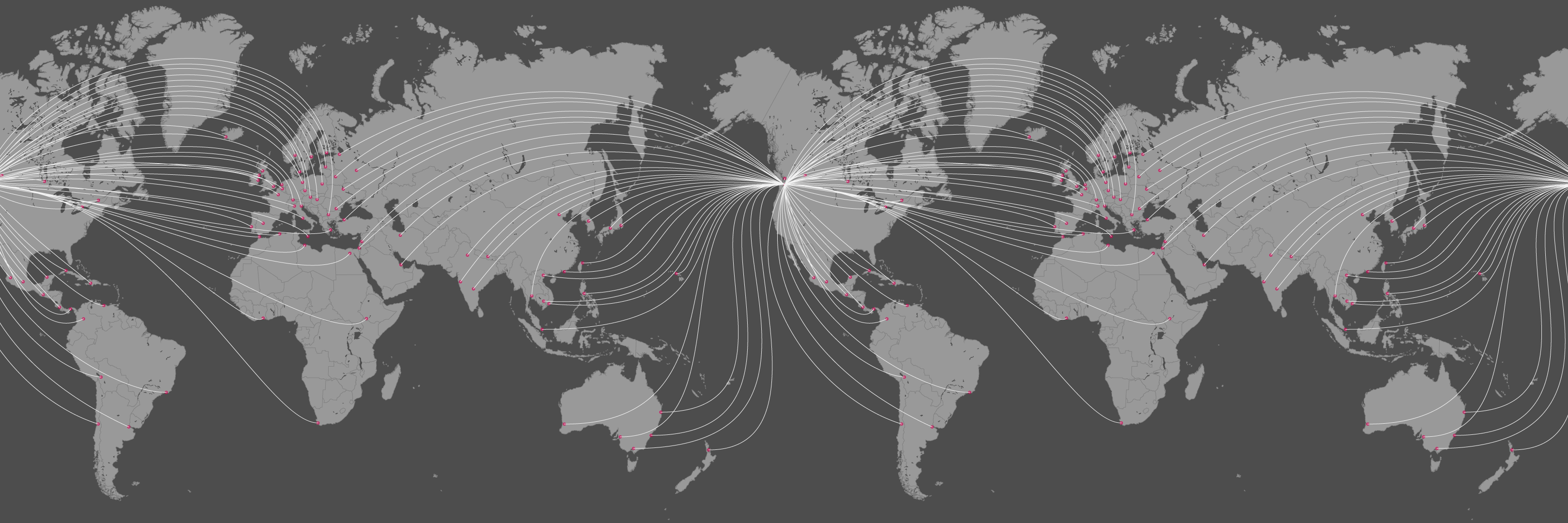 Illustration: a map of global destinations for international shipping